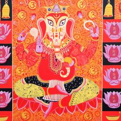 gajanan, 48 x 33 inch, bhaskar lahiri,religious paintings,paintings for office,canvas,acrylic color,48x33inch,GAL020975766