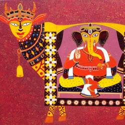 kamdhenu with sreeganesha, 48 x 36 inch, bhaskar lahiri,religious paintings,paintings for living room,ganesha paintings,canvas,acrylic color,48x36inch,GAL020975768,vinayak,ekadanta,ganpati,lambodar,peace,devotion,religious,lord ganesha,lordganpati
