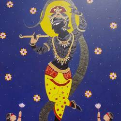 kaliadaman, 33 x 48 inch, bhaskar lahiri,religious paintings,paintings for bedroom,canvas,acrylic color,33x48inch,GAL020975769