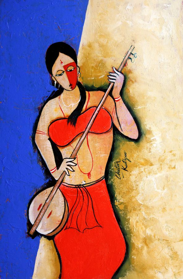 rhythm, 14 x 22 inch, chetan katigar,figurative paintings,paintings for living room,canvas,oil,14x22inch,GAL0266577