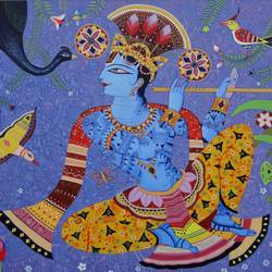 muralidhar , 36 x 30 inch, bhaskar lahiri,religious paintings,paintings for living room,canvas,acrylic color,36x30inch,GAL020975770