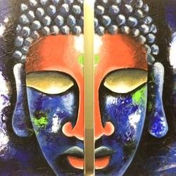 buddha abstract ,acrylic on canvas - 1, 24 x 18 inch, pooja p,abstract paintings,paintings for living room,canvas,acrylic color,24x18inch,GAL020995773