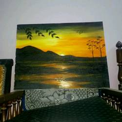 sunset, 18 x 24 inch, kalpana shukla,landscape paintings,paintings for bedroom,canvas,oil,18x24inch,GAL020595776