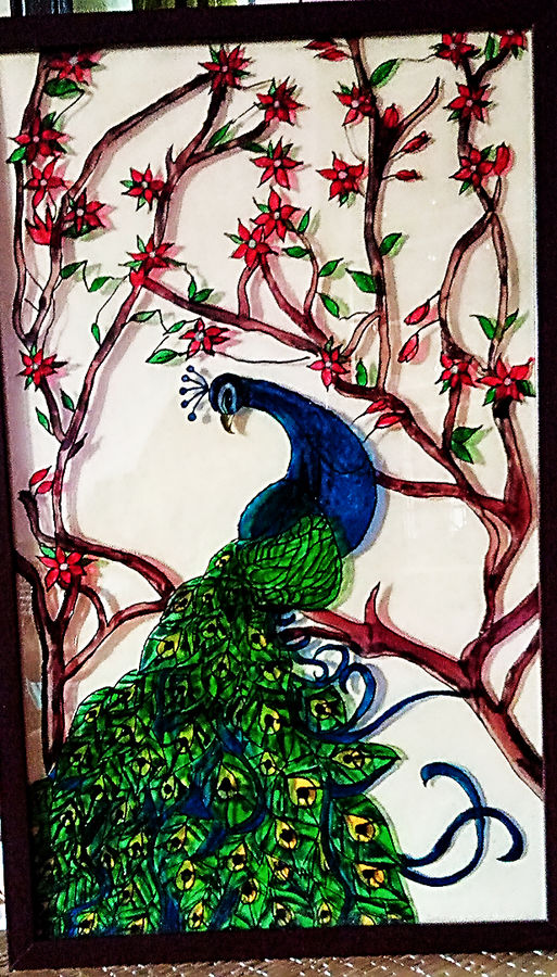 peacock, 11 x 18 inch, titli  sarkar,wildlife paintings,paintings for living room,acrylic glass,glass,11x18inch,GAL021065781
