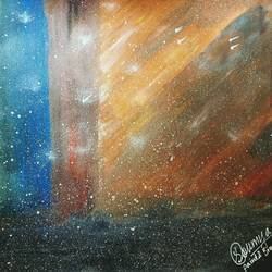 dancing stars , 23 x 33 inch, soumya purohit,abstract paintings,paintings for living room,thick paper,mixed media,23x33inch,GAL021155792