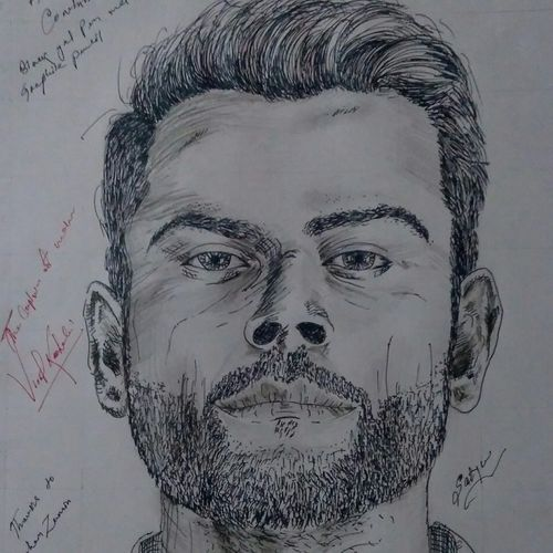virat, 11 x 16 inch, satyabrata parhi,portrait drawings,paintings for living room,thick paper,pen color,11x16inch,GAL011635793