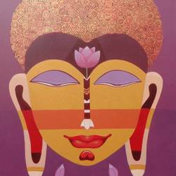 tathagata, 33 x 48 inch, bhaskar lahiri,paintings for living room,buddha paintings,canvas,acrylic color,33x48inch,religious,peace,meditation,meditating,gautam,goutam,buddha,colorful,lotus,GAL020975794