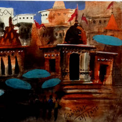 varanasi, 7 x 5 inch, girish chandra vidyaratna,landscape paintings,paintings for living room,square,paper,mixed media,7x5inch,GAL0365802