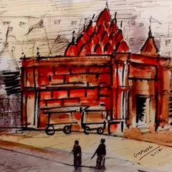 varanasi, 7 x 5 inch, girish chandra vidyaratna,paintings for bedroom,vertical,cityscape paintings,paper,mixed media,7x5inch,GAL0365803