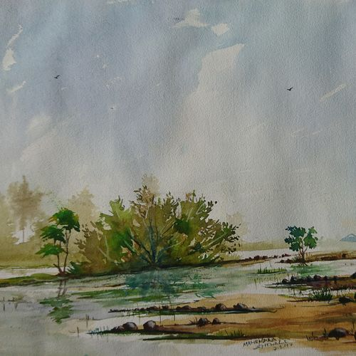 river view , 20 x 14 inch, mahendra shewale,nature paintings,paintings for living room,handmade paper,watercolor,20x14inch,GAL018725807Nature,environment,Beauty,scenery,greenery