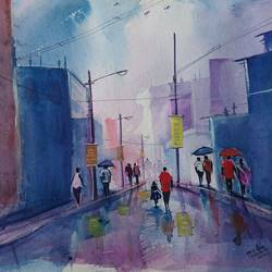 street view , 20 x 14 inch, mahendra shewale,nature paintings,paintings for living room,handmade paper,watercolor,20x14inch,GAL018725808Nature,environment,Beauty,scenery,greenery