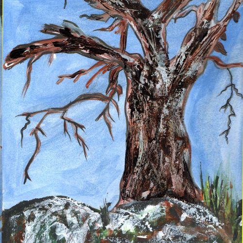 die tree, 10 x 12 inch, namita maithil,landscape paintings,paintings for dining room,thick paper,pastel color,10x12inch,GAL0202581