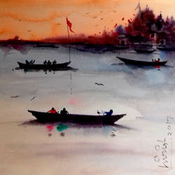 banaras, 8 x 11 inch, girish chandra vidyaratna,landscape paintings,paintings for living room,square,paper,watercolor,8x11inch,GAL0365812