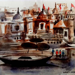 banaras, 7 x 5 inch, girish chandra vidyaratna,landscape paintings,paintings for bedroom,square,paper,watercolor,7x5inch,GAL0365813
