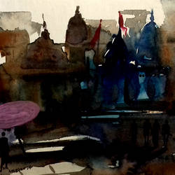 banaras, 7 x 5 inch, girish chandra vidyaratna,paintings for bedroom,cityscape paintings,paper,mixed media,7x5inch,GAL0365814