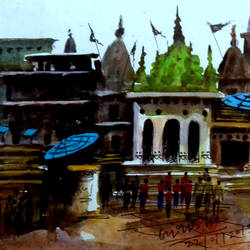 banaras, 7 x 5 inch, girish chandra vidyaratna,landscape paintings,paintings for bedroom,horizontal,paper,mixed media,7x5inch,GAL0365815