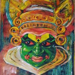 colourful kathakali, 15 x 22 inch, nikita rana,religious paintings,paintings for living room,drawing paper,mixed media,15x22inch,GAL021345819