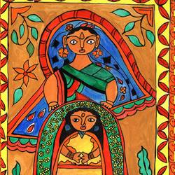 madhubani , 11 x 10 inch, namita maithil,folk art paintings,paintings for living room,madhubani paintings,thick paper,ink color,11x10inch,GAL0202582