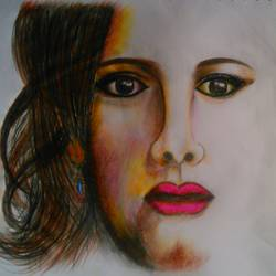 beautiful girl, 12 x 8 inch, mahendar bharatha,abstract drawings,paintings for living room,paper,pencil color,12x8inch,GAL020225824