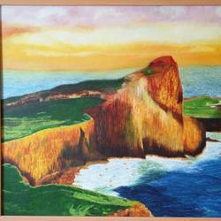 neist point lighthouse , 36 x 24 inch, preksha jain,landscape paintings,paintings for living room,paintings,canvas,oil,36x24inch,GAL021385827