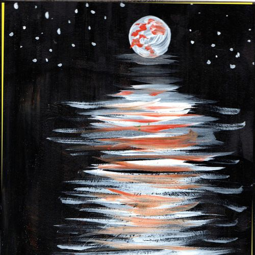 moon light , 10 x 12 inch, namita maithil,nature paintings,paintings for dining room,thick paper,acrylic color,10x12inch,GAL0202583Nature,environment,Beauty,scenery,greenery