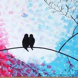 love birds , 12 x 9 inch, preksha jain,love paintings,paintings for bedroom,canvas,acrylic color,12x9inch,GAL021385830heart,family,caring,happiness,forever,happy,trust,passion,romance,sweet,kiss,love,hugs,warm,fun,kisses,joy,friendship,marriage,chocolate,husband,wife,forever,caring,couple,sweetheart