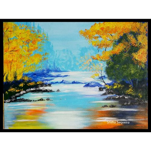 peace in nature, 12 x 16 inch, sneha sequeira ,nature paintings,paintings for living room,canvas,acrylic color,12x16inch,GAL021535844Nature,environment,Beauty,scenery,greenery