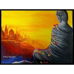 buddha , 12 x 16 inch, sneha sequeira ,buddha paintings,paintings for living room,canvas,acrylic color,12x16inch,religious,peace,meditation,meditating,gautam,goutam,buddha,grey,orange,sitting,GAL021535845