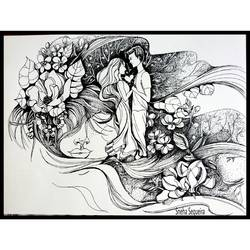 love fantasy, 12 x 16 inch, sneha sequeira ,modern drawings,paintings for bedroom,cartridge paper,ink color,12x16inch,GAL021535847