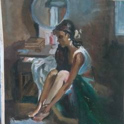 'being alone' oil, 14 x 20 inch, pushkar khollam,portrait paintings,paintings for living room,paper,oil,14x20inch,GAL021575852
