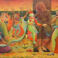relation, 48 x 36 inch, mukta  gupta ,contemporary paintings,paintings for dining room,figurative paintings,paintings for living room,paintings for bedroom,paintings for office,canvas,mixed media,48x36inch,GAL021615858