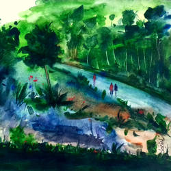 landscape, 10 x 8 inch, girish chandra vidyaratna,landscape paintings,paintings for bedroom,paintings,paper,watercolor,10x8inch,GAL0365860