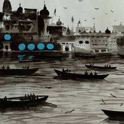 varanasi ghat , 6 x 14 inch, girish chandra vidyaratna,landscape paintings,paintings for bedroom,paintings,paintings for dining room,paintings for living room,paintings for office,paintings for kids room,paintings for hotel,paintings for kitchen,paper,watercolor,6x14inch,GAL0365861