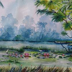 lotus pond, 20 x 14 inch, mahendra shewale,nature paintings,paintings for living room,handmade paper,watercolor,20x14inch,GAL018725865Nature,environment,Beauty,scenery,greenery