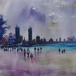 sea view , 20 x 14 inch, mahendra shewale,nature paintings,paintings for living room,handmade paper,watercolor,20x14inch,GAL018725866Nature,environment,Beauty,scenery,greenery
