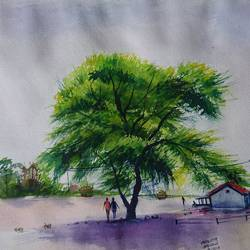 village nature , 20 x 14 inch, mahendra shewale,nature paintings,paintings for living room,handmade paper,watercolor,20x14inch,GAL018725867Nature,environment,Beauty,scenery,greenery
