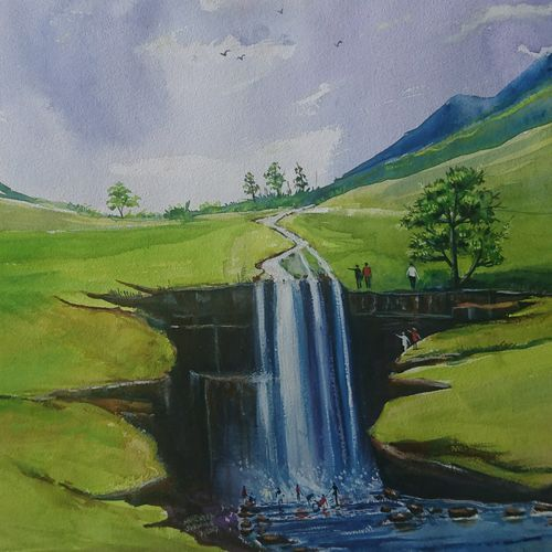 water fall, 20 x 14 inch, mahendra shewale,nature paintings,paintings for living room,handmade paper,watercolor,20x14inch,GAL018725868Nature,environment,Beauty,scenery,greenery