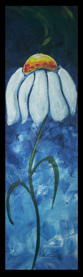 flower4, 6 x 18 inch, vignesh kumar,abstract paintings,paintings for living room,renaissance watercolor paper,acrylic color,6x18inch,GAL0250587