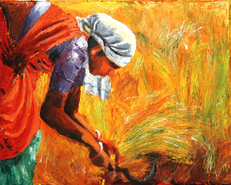 harvesting, 24 x 30 inch, vignesh kumar,abstract paintings,paintings for dining room,canvas,acrylic color,24x30inch,GAL0250588
