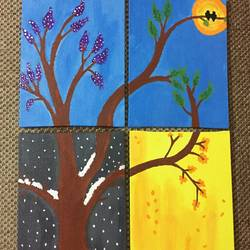 4 seasons, 12 x 16 inch, akshita rao,multi piece paintings,paintings for living room,canvas board,acrylic color,12x16inch,GAL021895883