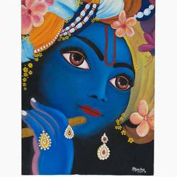 krishna, 12 x 16 inch, akansha  chandolia,radha krishna paintings,paintings for living room,canvas board,oil,12x16inch,krishna,lord,flute,music,religious,GAL021925886,krishna,Lord krishna,krushna,radha krushna,flute,peacock feather,melody,peace,religious,god,love,romance