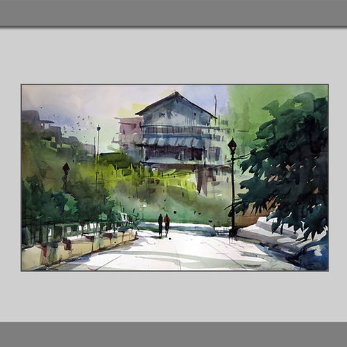 old cottage hauz khas , 17 x 15 inch, sankar thakur,nature paintings,paintings for bedroom,fabriano sheet,watercolor,17x15inch,GAL0759Nature,environment,Beauty,scenery,greenery