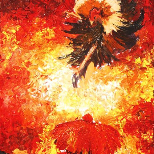 cock fight, 24 x 42 inch, vignesh kumar,abstract paintings,paintings for office,canvas,acrylic color,24x42inch,GAL0250590