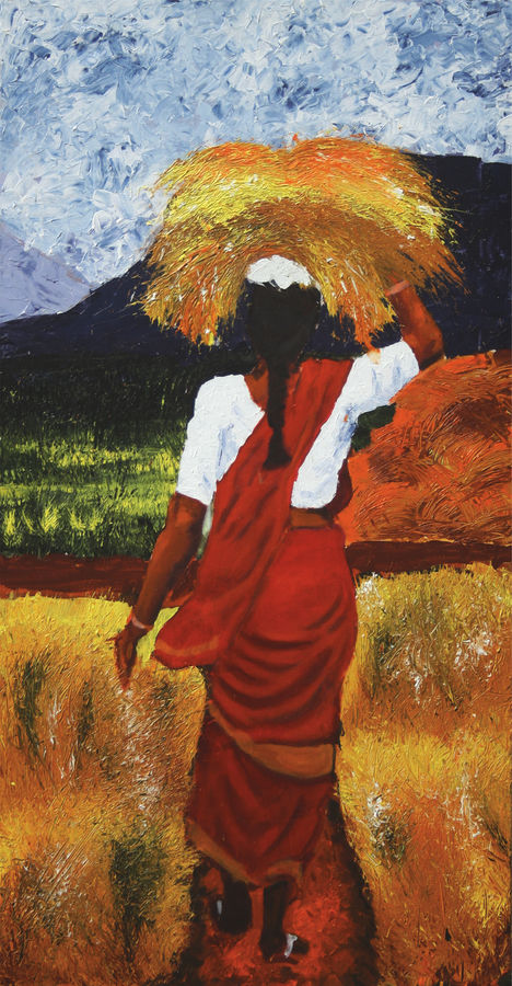 village women, 24 x 42 inch, vignesh kumar,abstract paintings,paintings for dining room,canvas,acrylic color,24x42inch,GAL0250591
