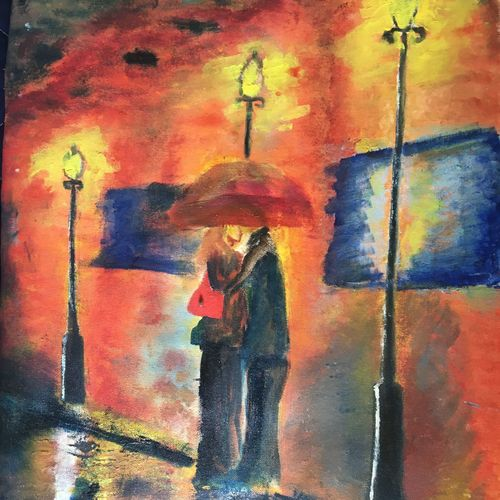 couple in street, 18 x 24 inch, harshit mall,figurative paintings,paintings for living room,canvas,oil paint,18x24inch,GAL021915910