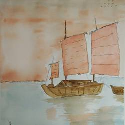 sailboat, 12 x 15 inch, arpitha m d,landscape paintings,fabriano sheet,watercolor,12x15inch,GAL08105911