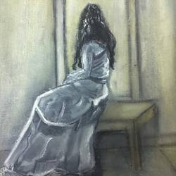 girl by the window, 10 x 11 inch, harshit mall,figurative paintings,paintings for bedroom,canvas,oil paint,10x11inch,GAL021915913