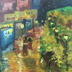 night street, 10 x 12 inch, harshit mall,still life paintings,paintings for dining room,canvas,oil paint,10x12inch,GAL021915914