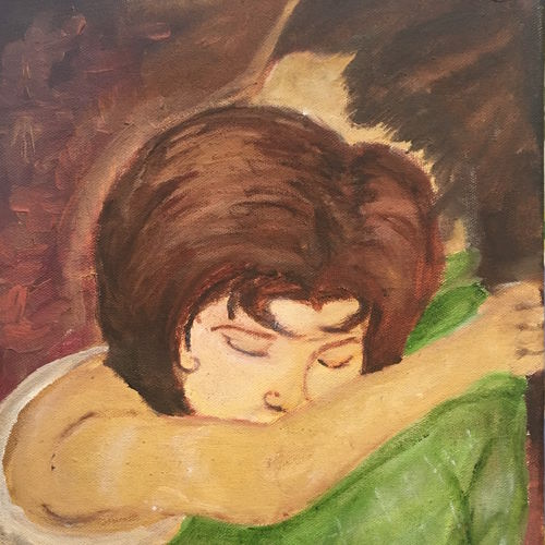 motherly love (mamta), 10 x 12 inch, harshit mall,figurative paintings,paintings for bedroom,canvas,oil paint,10x12inch,GAL021915917