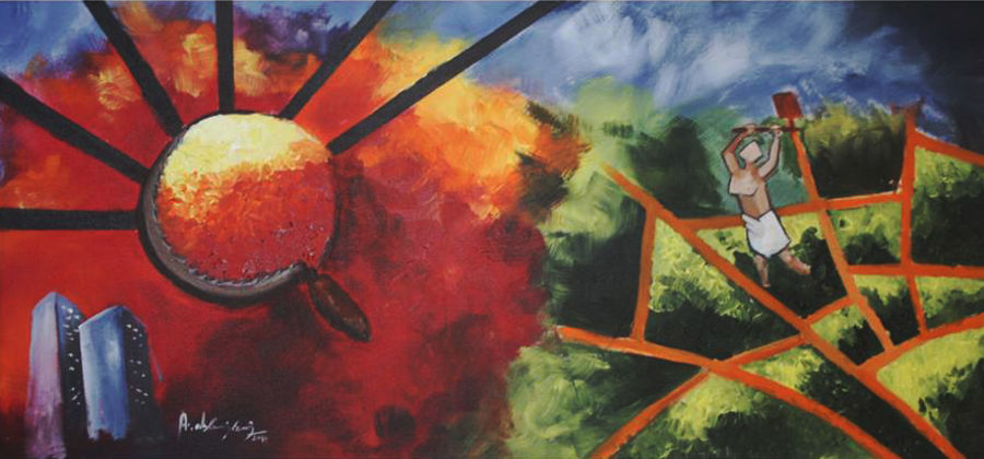the gernration gap, 24 x 42 inch, vignesh kumar,abstract paintings,paintings for office,canvas,acrylic color,24x42inch,GAL0250592